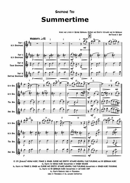 Summertime (G) - Gershwin - Ballad - Saxophone Trio - Arr. Thomas H. Graf