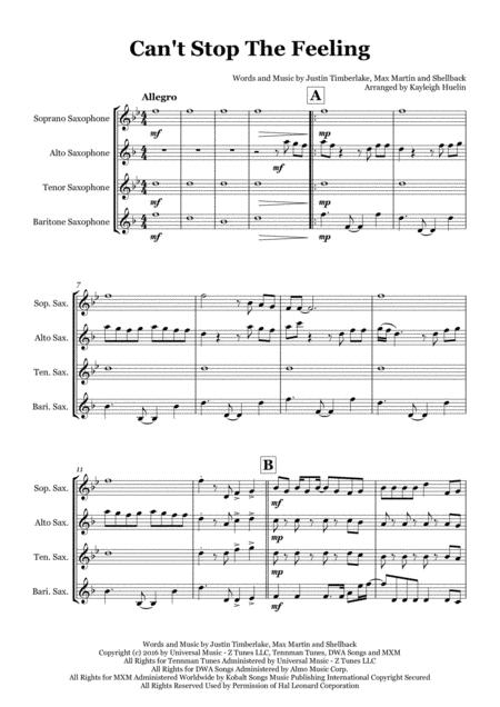 Can't Stop The Feeling by Justin Timberlake from TROLLS - Saxophone quartet (SATB)