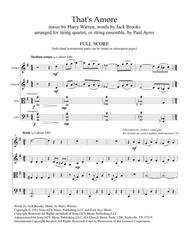 That's Amore, arranged for string quartet or ensemble
