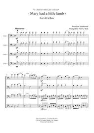Download Mary Had A Little Lamb For 4 Cellos Sheet Music By