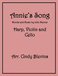 Annie's Song, arranged for Harp, Violin and (optional) Cello