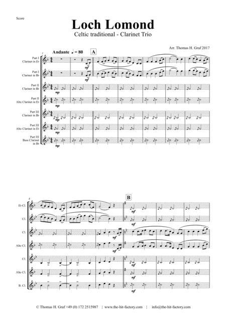 Loch Lomond - Celtic Traditional - Clarinet Trio