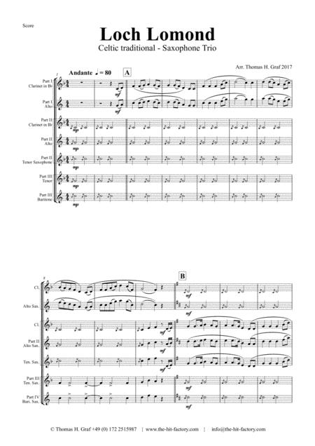 Loch Lomond - Celtic Traditional - Saxophone Trio