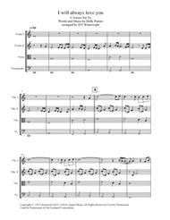 Download I Will Always Love You Arranged For String Quartet, Score