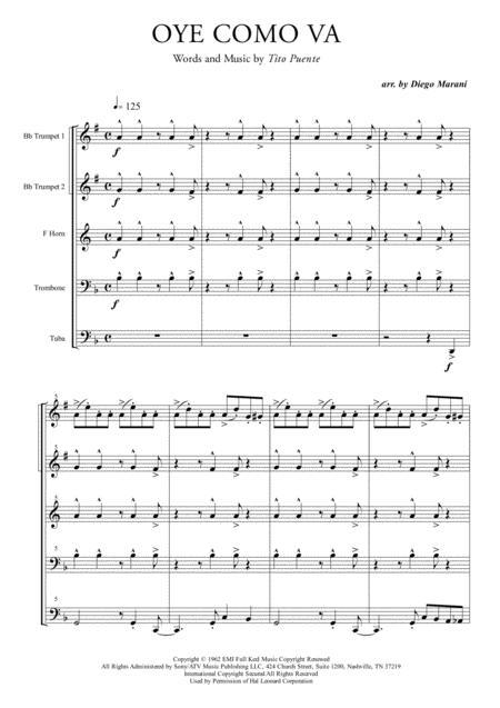 Oye Como Va for Brass Quintet