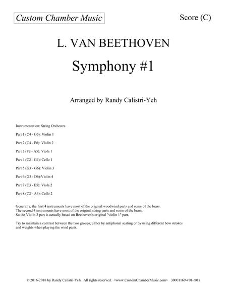 Preview Beethoven Symphony #1 For String Orchestra By Ludwig Van
