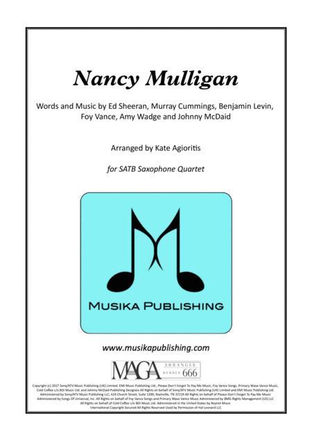 Nancy Mulligan - Ed Sheeran - for Saxophone Quartet