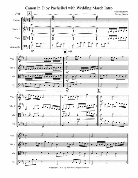 Canon in D by Pachelbel with Wedding March intro for String Quartet