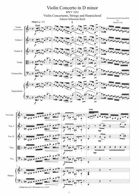 Bach - Violin Concerto in D minor BWV1052 for Violin, Strings and Harpsichord