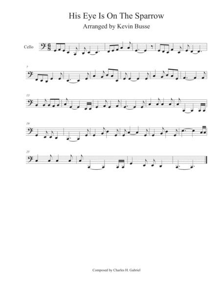 His Eye Is On The Sparrow (Easy key of C) - Cello