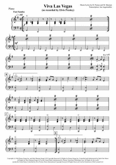 Viva Las Vegas (Elvis Presley Transcription, Piano Part)