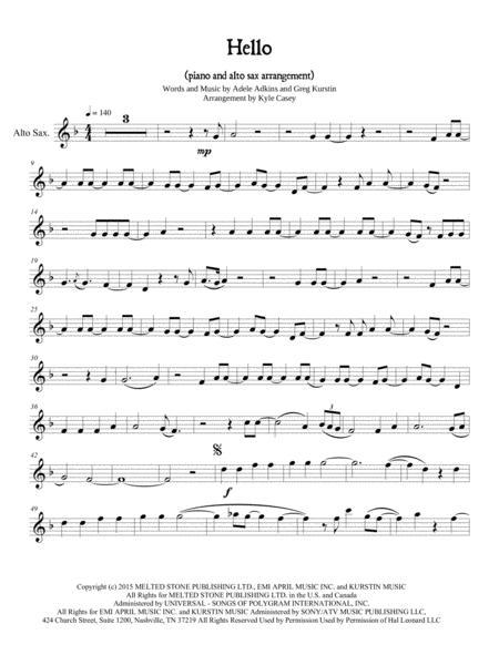 (Adele) Hello for Alto Sax and Piano