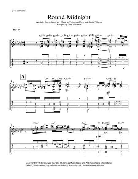 Download Round Midnight - Jazz Guitar Chord Melody Sheet Music By ...