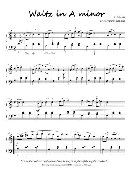Download Chopins Waltz In A Minor For Simplified Piano