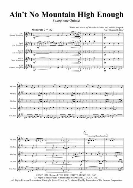 Download Ain\'t No Mountain High Enough - Diana Ross - Saxophone ...