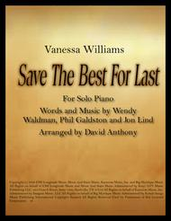 Save The Best For Last by Vanessa Williams for Solo Piano