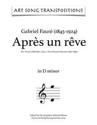 Après un rêve, Op. 7 no. 1 (in 8 keys: E, E-flat, D, C-sharp, C, B, B-flat, A minor)