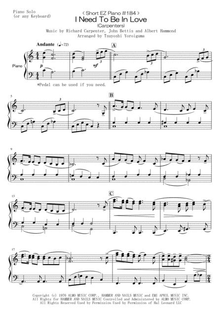 < Short EZ Piano #184 > I Need To Be In Love (Carpenters)