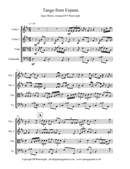 Tango from Espana by Albeniz arranged for string quartet with score, parts, rehearsal letters & mp3