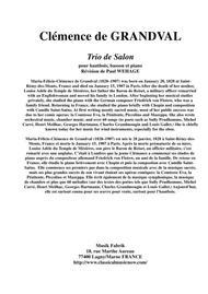 Clémence de Grandval: Trio de Salon, Opus 8 for oboe, bassoon and piano