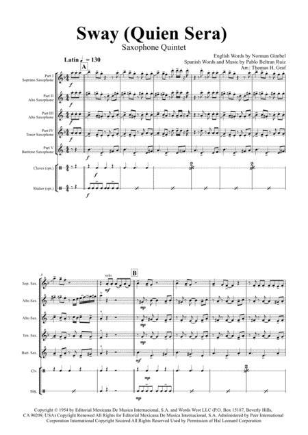 Sway (Quien Sera) - Michael Bublé - Saxophone Quintet