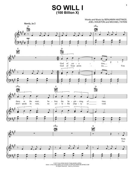 Download So Will I (100 Billion X) Sheet Music By Hillsong