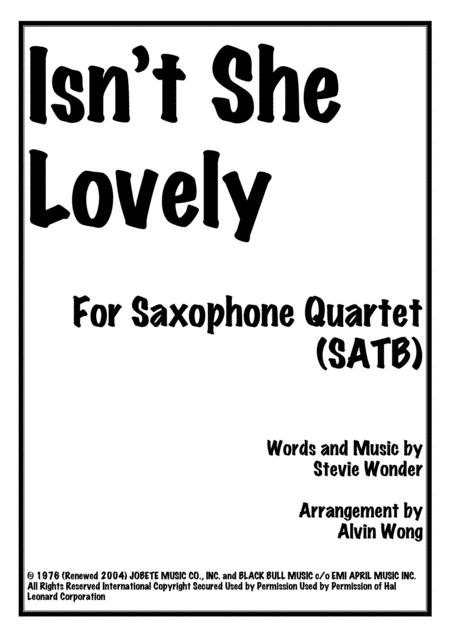Isn't She Lovely - Saxophone Quartet