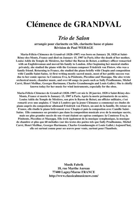 Clémence de Grandval: Trio de Salon, Opus 8 arranged for Bb clarinet, bass clarinet and piano