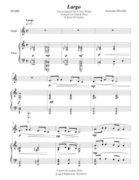 Dvorak: Largo from the New World Symphony for Violin & Piano