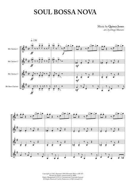 Soul Bossa Nova for Clarinet Quartet