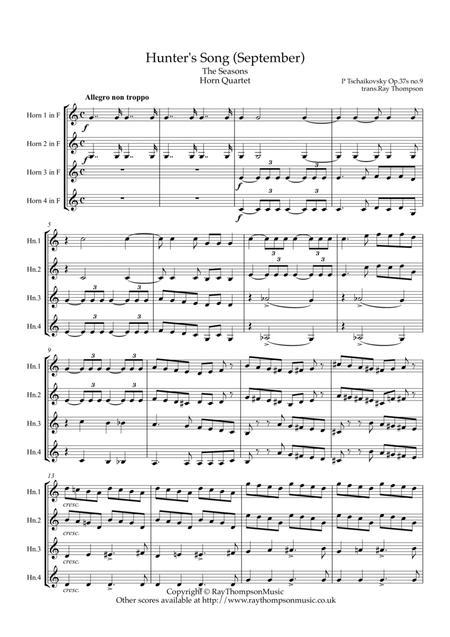 Tchaikovsky: The Seasons Op.37a No.9 September (Hunter's Song) - horn quartet