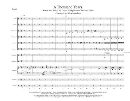 A Thousand Years (arranged for Percussion Ensemble)