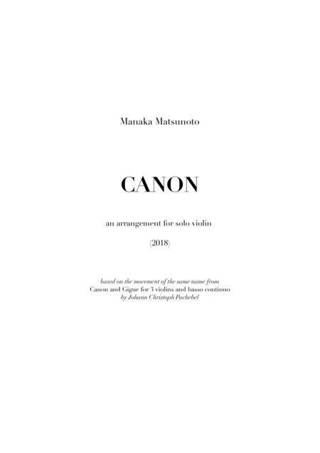 Pachelbel's Canon (arr. for solo violin)