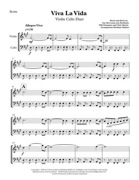Viva La Vida By Coldplay Wedding Violin Cello duet