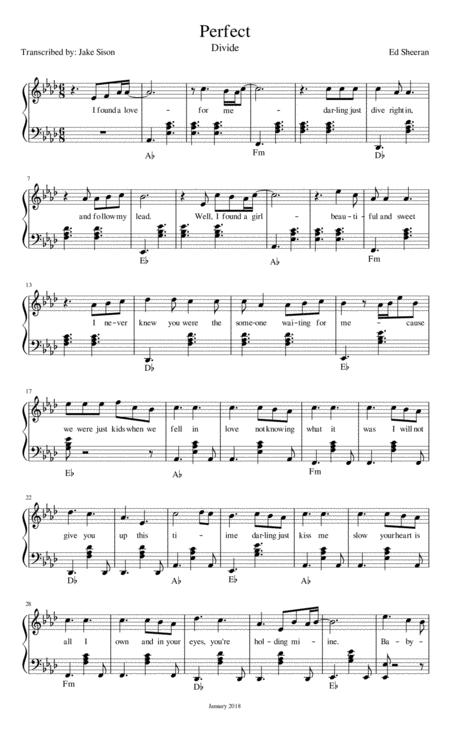 Perfect - Ed Sheeran (Piano Transcription)