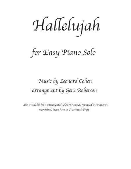 Hallelujah Easy Piano Solo