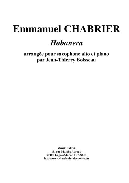 Emmanuel Chabrier: Habanera arranged for alto saxophone and piano