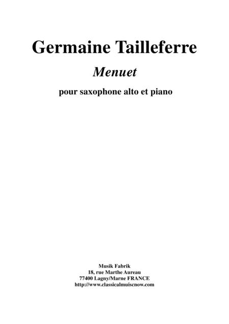 Germaine Tailleferre: Menuet for alto saxophone and piano