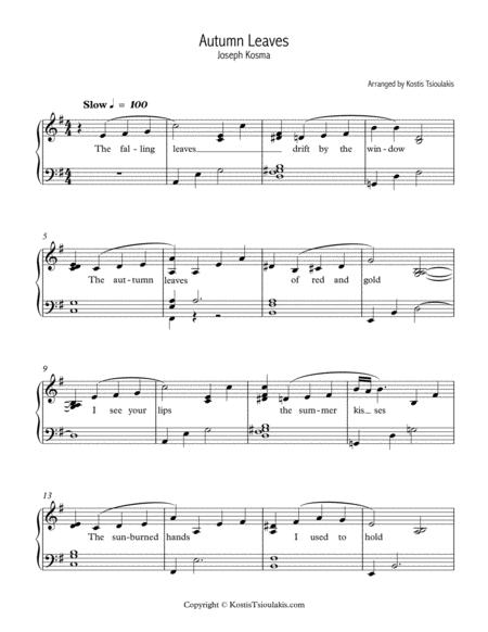 Download Autumn Leaves, Easy Jazz Piano Sheet Music By Joseph Kosma