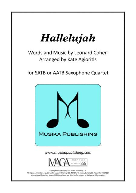hallelujah - for saxophone quartet by leonard cohen - digital sheet music  for score,set of parts - download & print h0.348423-34102   sheet music plus  sheet music plus