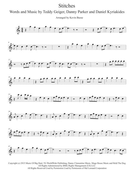 Download Stitches (Easy Key Of C) - Flute Sheet Music By