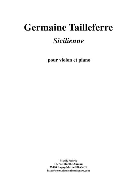 Germaine Tailleferre: Sicilienne for violin and piano