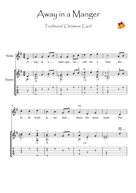 away in a manger violin and guitar duet by traditional - digital sheet music  for score,set of parts,tablature - download & print s0.350567   sheet music  plus  sheet music plus
