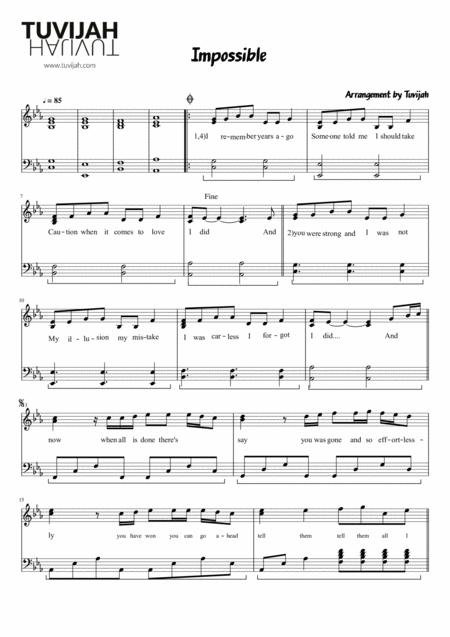 Download Impossible - James Arthur Sheet Music By Shontelle - Sheet ...