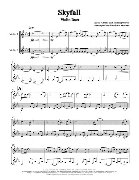 Download Skyfall By Adele Two Violins Duet Sheet Music By Adele