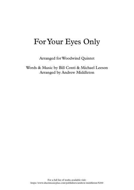 For Your Eyes Only for Woodwind Quintet