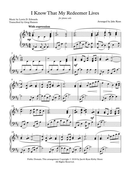 Download I Know That My Redeemer Lives Piano Solo Sheet Music By