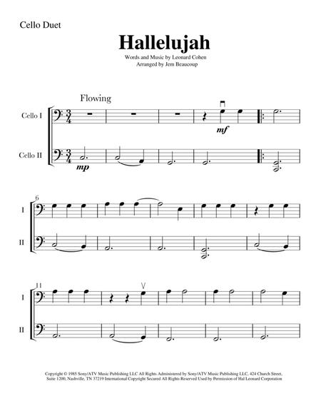 Download Hallelujah - Easy Cello Duet (2 Cellos) Sheet Music