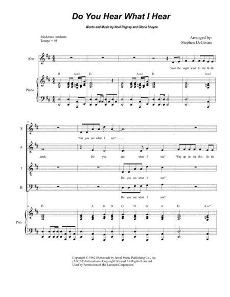 Do You Hear What I Hear (for Vocal Quartet - SATB)