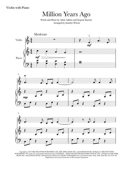 Download Million Years Ago Solo Violin Piano Sheet Music